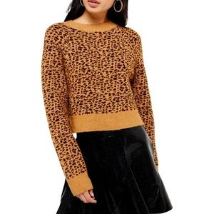 Topshop animal print crop sweater